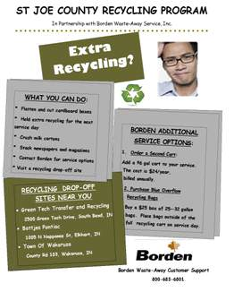 Recycling Program flyer including contact information and accepted materials