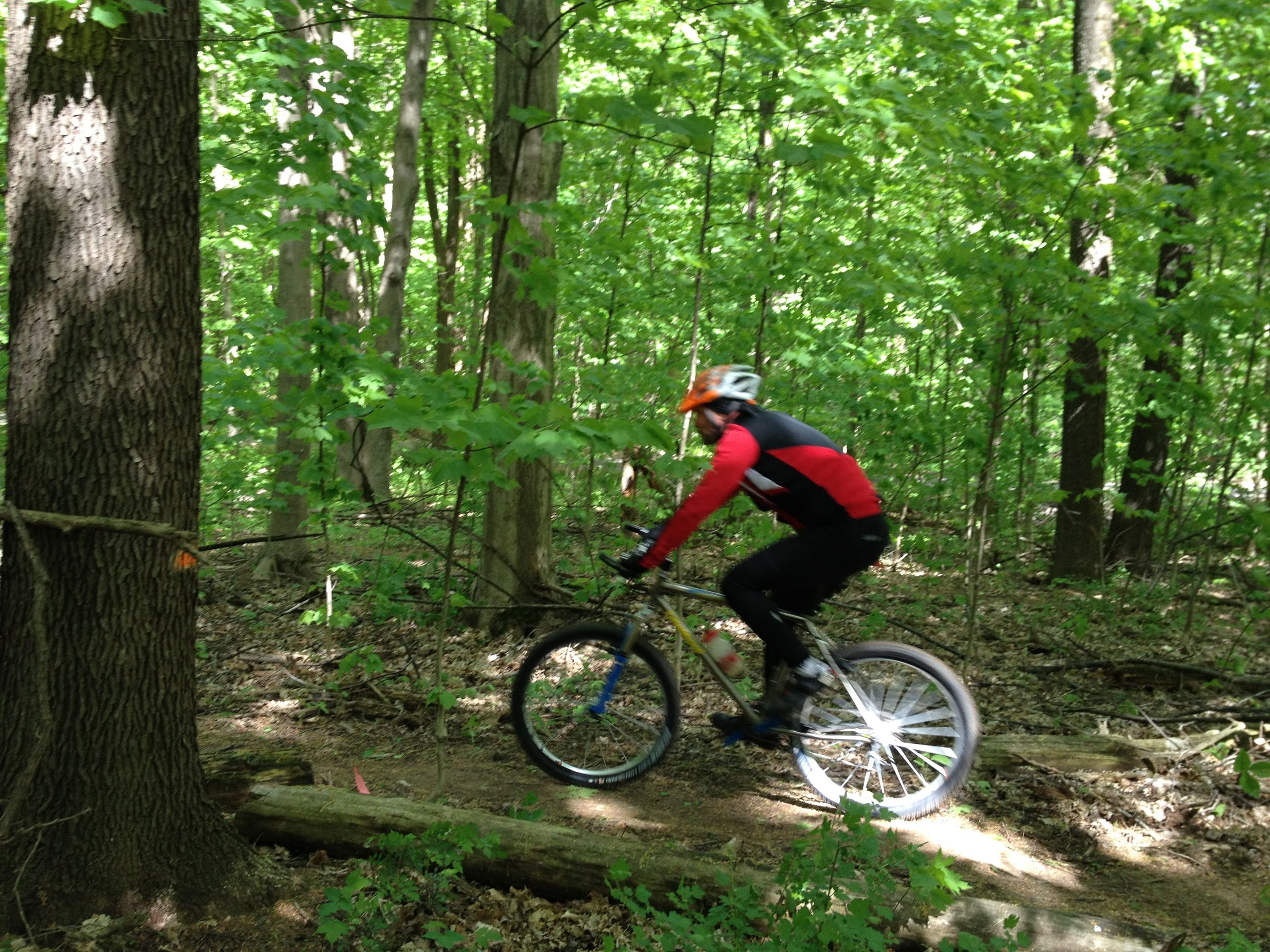 Bikerider on the Bendix Woods mountain bike trail