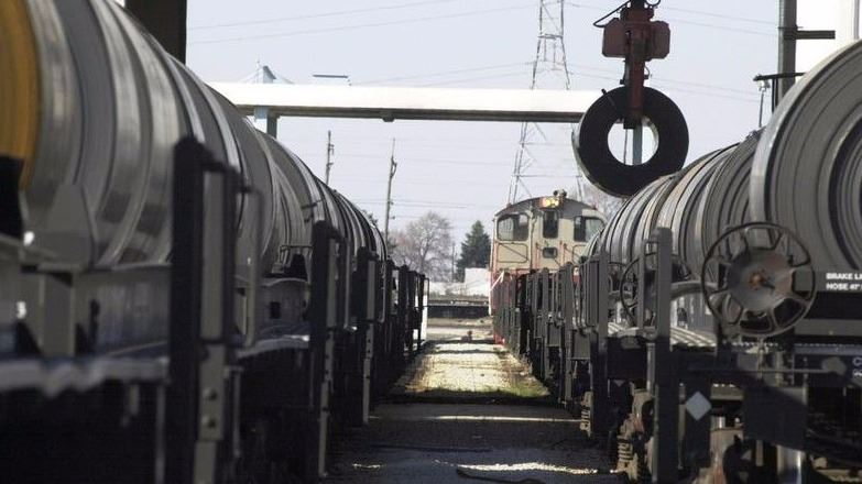 This is an image of rail cars with steel coils in the New Carlisle Economic Development Area